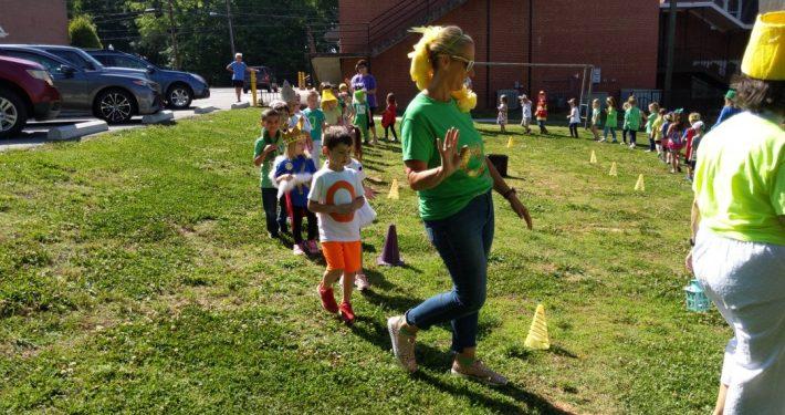 Deitre Junker, preschool teacher at First United Methodist Church leads her class in Letterland Parade