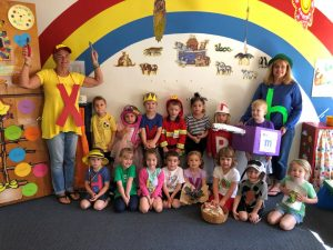 Preschool teachers Susan Wall (left) and Holly Sinopoli (right) with their class of 3-year-olds at FUMC preschool in Mocksville wearing Letterland character costumes