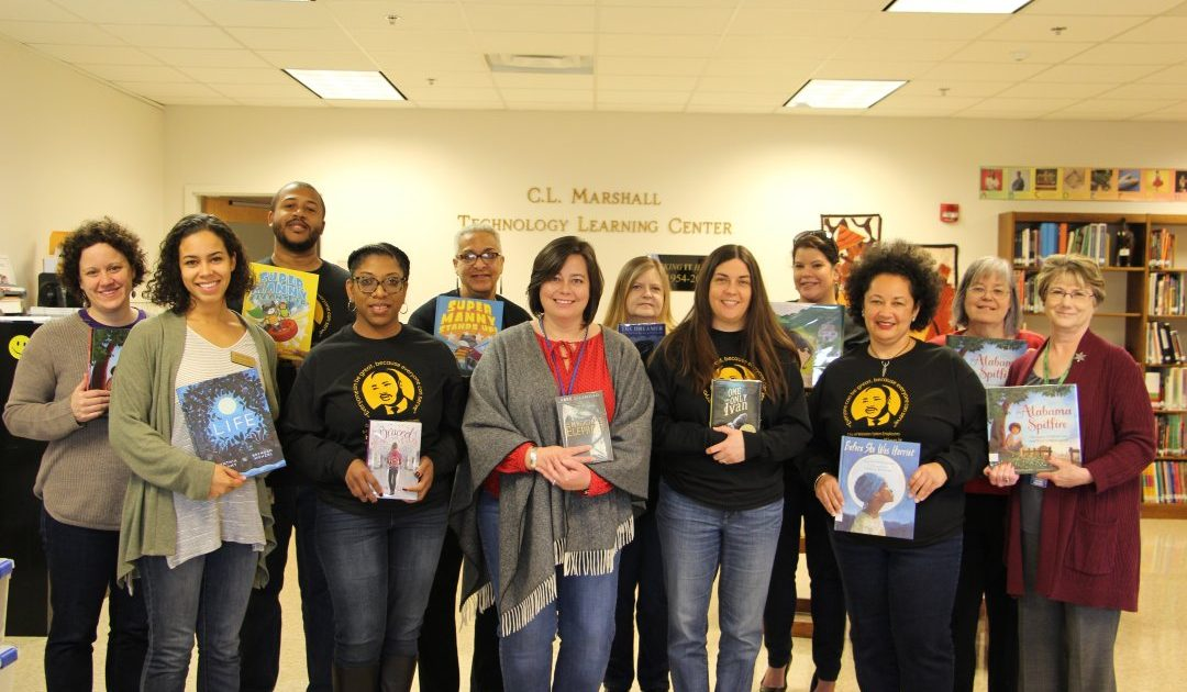 Winston Salem City Employees Volunteer for Bookmarks as part of as part of Helping Hands, a celebration of Martin Luther King Jr.'s birthday