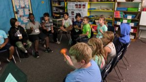 Students learn about rhythm and sound in a music and theatre session