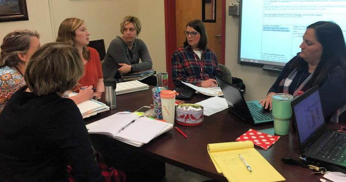 Teachers at William R. Davie Elementary school collaborate in a Professional Learning Community facilitated by the DavieLEADS progam and a grant from the Mebane Foundation